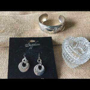 Earrings. Bracelet, and crystal jewelry box.